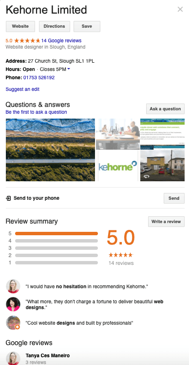 Google My Business – Kehorne page