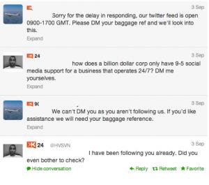 Tweets demonstrating poor customer service